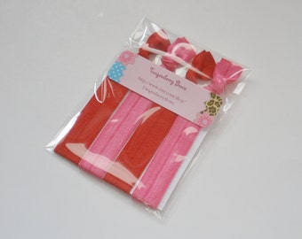 Elastic Hair Tie Set of Four - Solid Red and Hot Pink (5047)