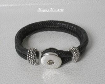 Ethnic black bracelet for snap button