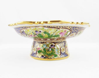Enameled and Gold Trimmed Comport - Compote - Hand-painted Bowl on Pedestal - Multi-color Bowl With Curved Edges - Detailed Top/Bottom/Base