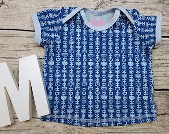 Tshirt Babyshirt Flowers retro Scandinavian Sweden Blue turquoise American neckline Short sleeve gift baby wax shirt Shirt Girl