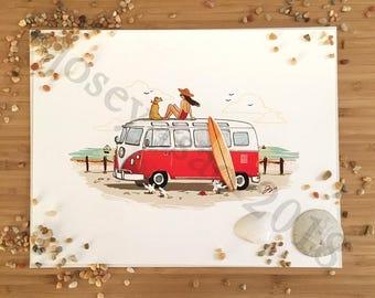 Girl on the Go: VW Bus -  Illustration Print