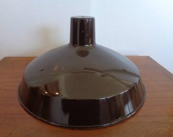 Vintage Industrial Brown Spun Aluminum Pendant Light Fixture Shade