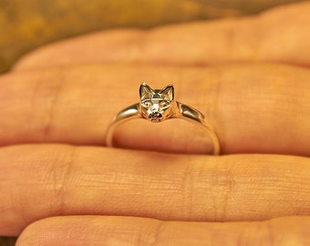 Cat Ring, Cat Silver Ring, Sterling Cat Ring, Cat Jewelry, Kitty Ring, Kitten Ring, Tiny Cat, Cute Cat, Silver Animal Ring, Animal Ring, Cat