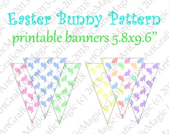 Easter Bunny Banner Printable Party Decoration Mix Match Pretty Pastel Bunting Birthday Flags Baby Shower Digital Pennants Instant download