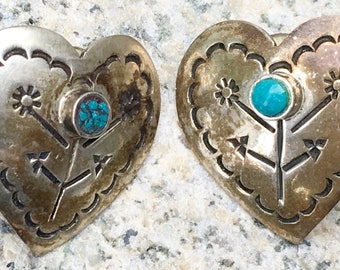 Vintage Sterling silver heart earrings with turquoise