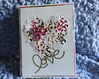 5 different valentines love cards with matching envelopes