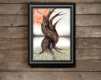 Tree Of Life - Tarot Card Art - Oracle Card Art - Tree Talker Art   Rachael Caringella