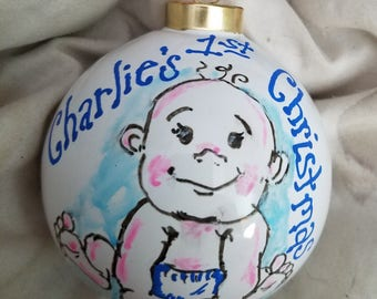 Baby Boy Girl First Christmas Hand Painted Ornament