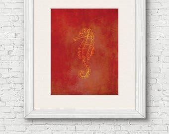Seahorse Printable Wall Art - instant download, beach house wall art, home decor, print, seahorse art print, kids bedroom art, nursery art