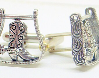 Vintage Sterling Cowboy Cufflinks - Maisel's Of Albuquerque- Rustic Wedding - Perfect Groom Gift - Handmade - Best Man - Cowgirl Wedding