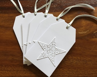 Hand made Embossed Christmas/Holiday Gift Tags. Large Star, Silver Ribbon (5 tags). GT02