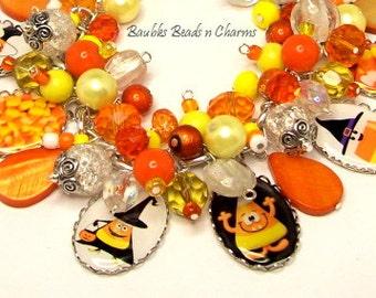 Halloween Candy Corn Charm Bracelet Jewelry, Altered Art Charm Bracelet, Picture Charm Bracelet, Silver Plated