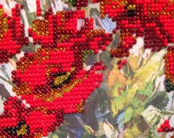 Sweet home. Handmade painting. Czech bead.Embroidered beaded