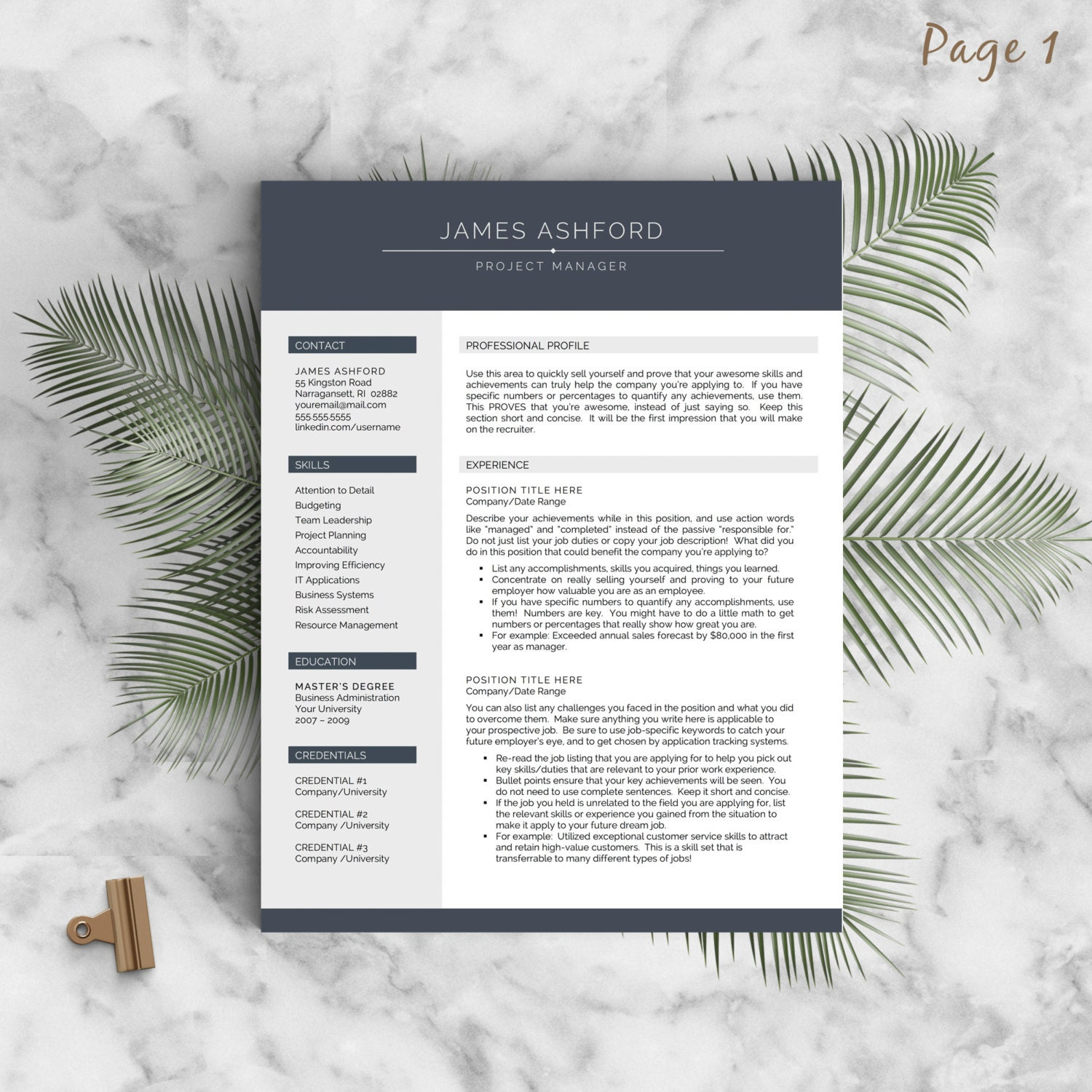 Modern Resume Template For Word And Pages 1 3 Page Resume