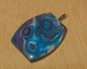 Faux Abalone Small Rectangular Pendant Handmade Polymer Clay, Blue, Purple, and Silver Mokume Gane Charm