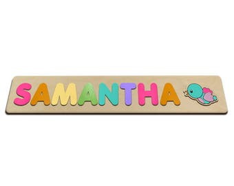 Personalized Wooden Toy Name Puzzle, Montessori Toys For Babies And Toddlers Great Second 2nd Birthday Gift Blue Bird With Pink 495388906