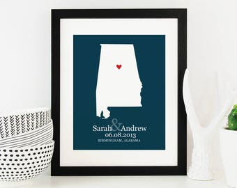 Personalized Alabama State Map Wedding Gift, Bridal Shower Gift, Sweet Home Alabama, Newlywed Gift, Belated Gift -  Art Print