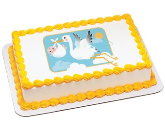 Stork and Baby Edible Icing Image