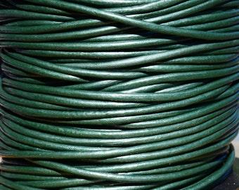 Round Metallic Leather Cord 2mm Metallic Ocean Green - 2 yards Leather Cording