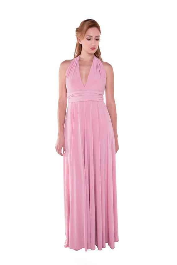 Vestido Rosa Cuarzo Largo Vestido Infinity Convertible Vestido