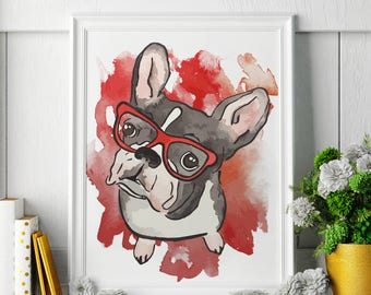 French Bulldog - Watercolor Painting - French Bulldog Art - French Bulldog Painting - French Bulldog Print - Animal Watercolor Print