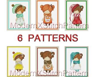 6 Cross Stitch Patterns, SET, Baby Dolls