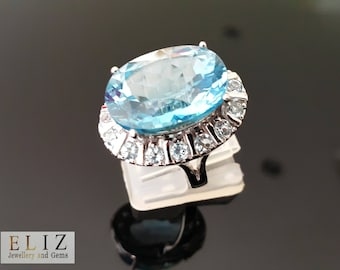 Extremely RARE HUGE Size Genuine Blue Topaz Sterling Silver Ring Size 7