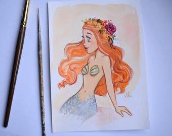 Apricot Mermaid original painting