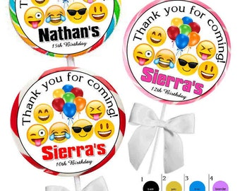 40 ~ EMOJI BIRTHDAY PARTY favors stickers for lollipops goody bags, favor boxes, invitations, envelope seals, candle favors, Free Shipping