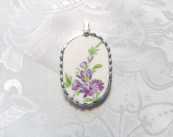 Vintage Recycled Broken China Pendant Purple floral