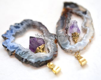 Raw Geode Pendant with Amethyst drop, Large Geode Pendant, Amethyst Pendant, Vermeil Bail, Average 45x30mm