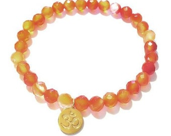 Gold Om Bracelet-Carnelian Gemstone Bracelet-Gold Om & Carnelian Gemstone Bracelet-Gold Om Charm-Yoga Jewelry-Spiritual Bracelet- Ohm