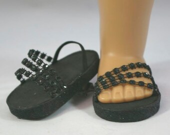 """New!!! American Girl or 18 inch doll Ballerina princess party SANDALS SHOES Flipflops dressy Triple """"Fan"""" Straps in BLACK sparkle"""