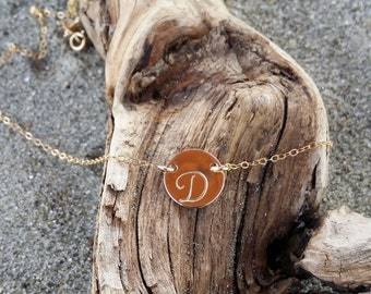 Gold Monogram Necklace, Initial Necklace, Gold Fill