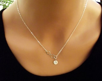 Infinity Love Necklace -  initial, Personal Initial,  Eternity Circle, Infinity Link, in Sterling Silver - Dainty Necklace