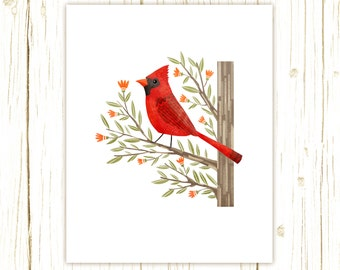 Cardinal Print -- bird art -- bird art 52 birds stephanie fizer coleman illustration red bird