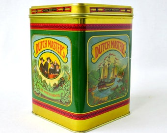 Vintage Advertising Tobacciana Tin - 1960s Collectible Dutch Masters Tobacco Litho 25 Presidents Cigar Container New York Storage Can