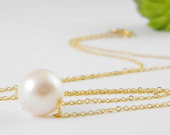 Pearl Necklace, Floating Freshwater Pearl Necklace, Single Pearl Necklace, Pearl Bridal Necklace, Delicate Pearl Necklace, Gift for Her