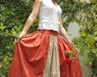 Double-Sided Maxi Long Skirt with Strings