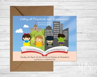 Princess & Superhero Party Invitations • Qty 100 - 149 • including Envelopes