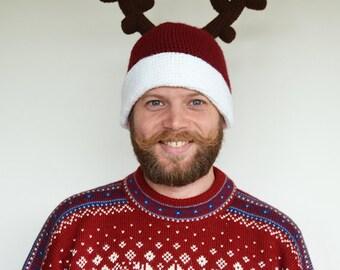 Reindeer Hat Crochet Pattern - Red Nose Reindeer Hat Crochet Pattern - Holiday - Seasonal - Festive - Easy Christmas Hat Crochet Pattern