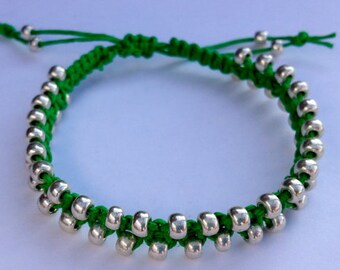 CLEARANCE - Green Hemp Bracelet with Silver Beads