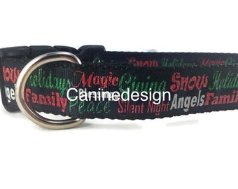 Christmas Dog Collar, Christmas Words, 1 inch wide, adjustable, quick release, metal buckle, chain, martingale, hybrid, nylon