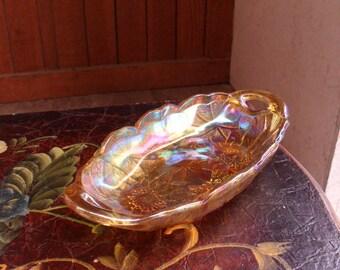 Carnival Glass Bowl, Vintage Indiana Marigold Carnival Glass Bowl