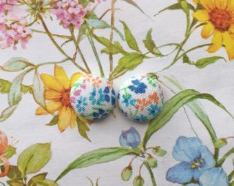 Floral Stud Earrings / Fabric Covered Buttons / Wholesale Jewelry / Made in USA / Bridesmaid Gift / Nickel Free / Vintage Inspired