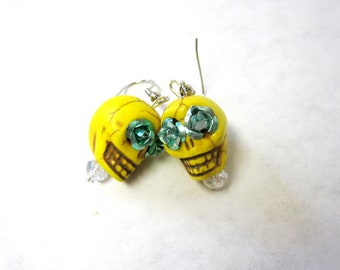 Sugar Skull Earrings Day of The Dead Jewelry Rose Yellow