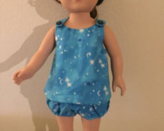 "Teal space print sundress for 18"" dolls"