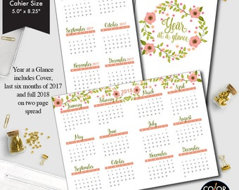 Cahier size Year at a glance printable insert, 2017 and 2018 Planner Insert.  CMP-235.3