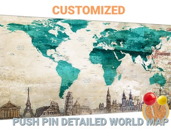Teal world map etsy teal world map canvas teal push pin world map teal world map canvas wall art teal gumiabroncs Image collections