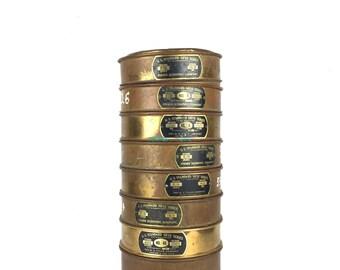 Vintage Brass Sieve Lot Antique US Standard Sieve Antique Brass Mining Sieves Mesh Screen Brass Sieve Stack